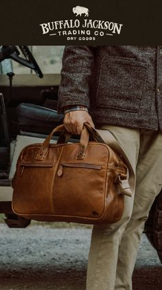 These premium full grain brown leather bags are handcrafted for a lifetime of business, luxury, adventure, and more. The clean silhouette says classic professional. The lightweight construction offers function and ease. Collection options include briefcase bag, messenger bag, pilot bag, and weekend bag. Briefcase For Men, Leather Briefcase, Leather Bags, Leather Satchel, Men's Leather, Brown Leather, Waxed Canvas Bag, Best Gifts For Men, Laptop Bag