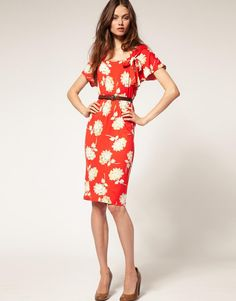 LOVE THE CUT. NEEDS TO BE IN MY COLOR FAMILY.  ASOS | ASOS Tea Dress in 40s Floral Print at ASOS