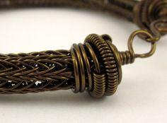 Vintage Bronze Viking Knit 24 Gauge Wire Men or Womens Bracelet