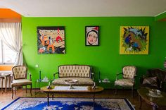 This neon green sitting room that's somehow retro and modern and classic all at…