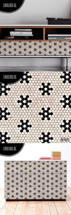 Vinilo adhesivo decorativo, de imitación de baldosas antiguas un mosaico con… Bath Mat, Rugs, Home Decor, Geometric Fashion, Tiling, Tiles, Flooring, Vinyls, Stars