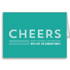 Simple Blue Cheers Christmas Cards