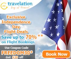 Amazing Independence Day Flight Deals. Book now and get $15 off with coupon code FREEDOM15