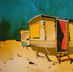 Ltd Edition Giclee Art Print Two Static Caravans by TraceyOldham, £25.00