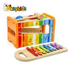 Natural Bamboo Wooden Animal Car Rattle Handbell Baby Sensory Toy Musical Shaker