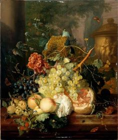 Jan Van HUYSUM  TitleFRUIT AND FLOWERS ALMOST A LOVE OF VASE ORNE  Period creation / executionFirst half 18th century  Location of recordsParis, the Louvre