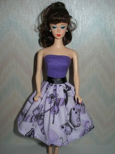 Handmade Barbie clothes - black and purple butterfly print dress