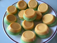 Leche Puto STEAM RICE CAKE 2 Cups cake flour 1 Cup sugar 4 Egg whites 2 Tablespoon baking powder 1/4 Teaspoon salt 1 1/2 Cup water 1/4 Cup evaporated milk Drops of yellow food color LECHE FLAN 4 Egg yolks 1 Can condensed milk 2 Teaspoon lemon juice