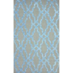 $190 uLOOM Hand-hooked Blue/ Grey Wool-blend Rug (5' x 8')