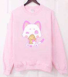 About Kitty Neko Swetshirt This sweatshirt is Made To Order, we print the sweatshirt one by one so we can control the quality. Harajuku Fashion, Kawaii Fashion, Cute Fashion, Fashion Outfits, Fashion Trends, Woman Fashion, Looks Kawaii, Estilo Harajuku, Kawaii Goth