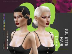 The Sims 4 Leahlillith Juliette Hair Sims 4 Game Mods, Sims Mods, My Sims, Sims Cc, Sims 4 Cc Eyes, Sims 4 Black Hair, Coral Hair, The Sims 4 Cabelos, Sims 4 Cc Kids Clothing