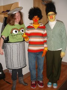 Homemade Halloween costumes! Bert,Ernie and Oscar the Grouch! Now to figure out what to be this year....
