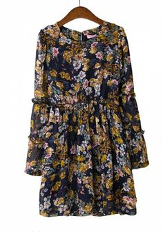 Fashoin Enchating Fashionable Dizzying Chiffon round neck Long Sleeve Print Fashion Dresses