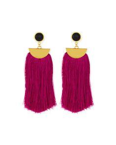 Parrot Tassel Drop Earrings, Fuchsia - Lizzie Fortunato