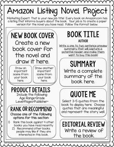 An Amazon Listing Cumulative Novel Project! Students make their own book listing for a novel they have read. They write a summary, select important quotes, write a review, and more!