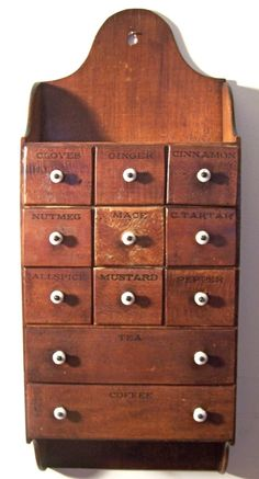 Vintage Victorian Antique Hanging Wooden Eleven Draw Porcelain Knob Spice Box         ...~♥~