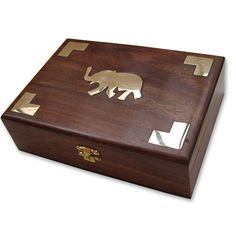 Jewelry Holder Indian Wood Box Brass Inlay Work for Girls