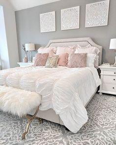 dream of a master bedroom 36 - Home sweet Home - Bedroom Decor Girl Bedroom Designs, Room Ideas Bedroom, Home Decor Bedroom, Bedroom Wall, White Comforter Bedroom, Beds Master Bedroom, Classy Bedroom Ideas, White Bed Comforters, Room Decor Bedroom Rose Gold