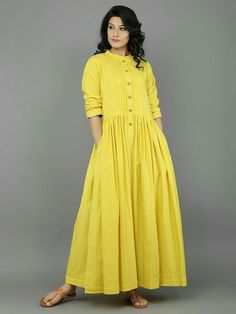 Dresses - Yellow Khadi Dress with Gathers Eerbare kleding Eng Modest clothing Fr Vêtement modeste Du Bescheidene Kleidung Sp ropa modesta Ru Скромная одежда Kurti Designs Party Wear, Kurta Designs, Blouse Designs, Plain Kurti Designs, Linen Dresses, Cotton Dresses, Casual Dresses, Summer Dresses, Indian Dresses