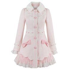 Elegant Lady Lolita Sweet Girl Sweet Lace Bow Wool Overcoat Princess Winter Coat