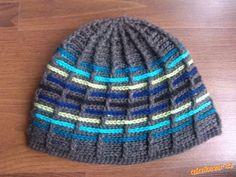 """HÁČKOVÁNÍ - Pánská proužkatá čepice (""""prošívaná"""") Knitted Hats, Beanie, Knitting, Fashion, Moda, Tricot, Fashion Styles, Breien, Stricken"""