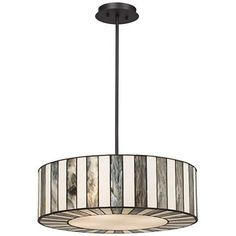 "Tiffany Style 20"" Wide Striped Art Glass Pendant Light - #V9904 