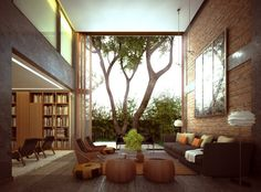 Included in our outdoor room roundup, the open-concept 700 Palms Residence in San Francisco features a towering brick wall living room that opens up to nature.