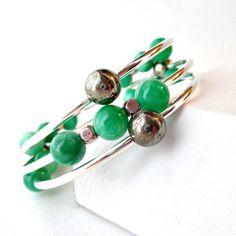 Memory Wire Bracelet Green Jade Bracelet Mixed Gemstone by Pilboxx