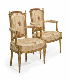 A SET OF FOUR LOUIS XVI GILTWOOD FAUTEUILS, CIRCA 1780, THREE STAMPED 'G. IACOB'