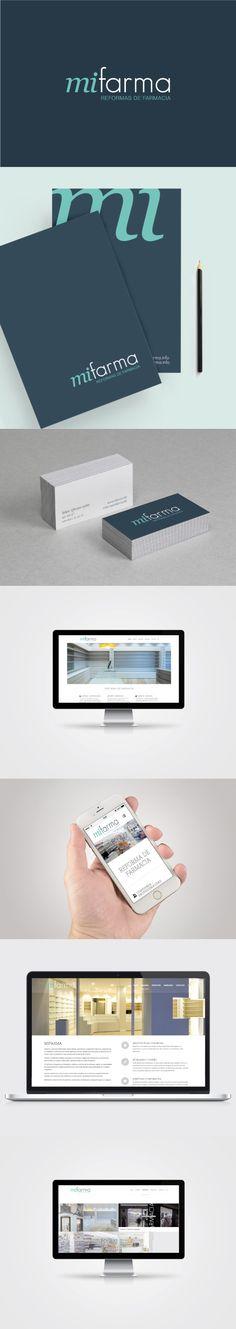 Diseño de Imagen Corporativa y creación de página web adaptada con sistema responsive para todos los dispositivos móviles. Mifarma, empresa especializada en la reforma de farmacias y clínicas #logotipo #imagencorporativa #branding #diseñografico #papeleriacorporativa #diseñoweb