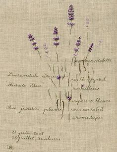 """""""L'Adieu"""" chart by Marie-Therese Saint-Aubin, on 32 ct natural undyed linen using silk floss - from The Drawn Thread."""