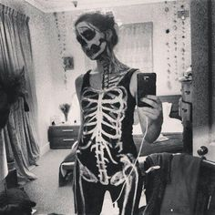 Creepy Skeleton Costume Selfie
