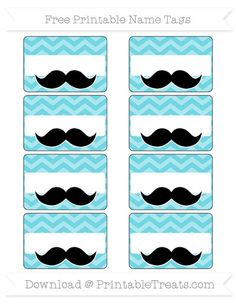 Free Pastel Teal Chevron Mustache Name Tags