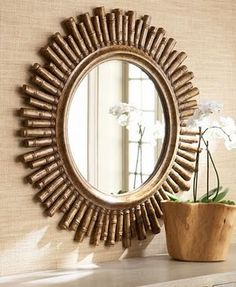 Unique Mirror Frame Designs Made Of Bamboo - Bamboo Mirror, Bamboo Art, Bamboo Crafts, Round Wall Mirror, Diy Mirror, Bamboo Ideas, Beveled Mirror, Unique Mirrors, Rustic Mirrors