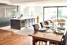 Open Plan Kitchen Dining Room - 4 More - Small Open Plan Kitchens, Open Plan Kitchen Diner, Kitchen Diner Extension, New Kitchen, Kitchen Ideas, Family Kitchen, Kitchen Trends, Kitchen Photos, Kitchen Layout