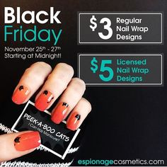 Black Friday deals and steals  ACTIVATE. Grab nail wrap designs like these Peek-a-boo Cats for more than 50% off right meow at espionagecosmetics.com! *throws confetti* #EspionageCosmetics #NerdMakeup #NerdManicures #BlackFriday #BlackFridaySale #HolidaySale #Sale #Nails