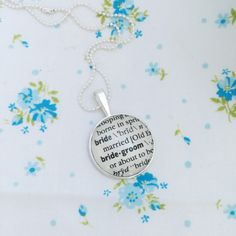 New to roseylittlethings on Etsy: Bride word necklace one of a kind vintage dictionary word necklace personalized bride necklace gift for a bride (20.00 USD)