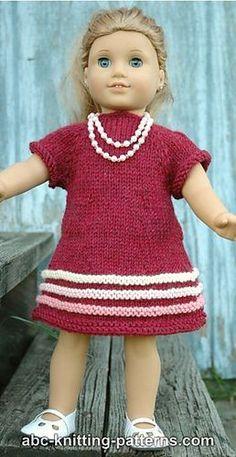 Ravelry: American Girl Doll Raglan Banded Dress pattern by Elaine Phillips Knitting Dolls Clothes, Crochet Doll Clothes, Girl Doll Clothes, Girl Dolls, Knitting Toys, Ag Dolls, Knitting Projects, American Girl Outfits, American Doll Clothes