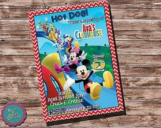 "Printable ""Mickey Mouse Clubhouse"" ""Birthday Party Invitation"" ""Mickey Invite"" 