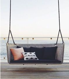 Swing into Summer: Porch Swings for Every StyleBECKI OWENS Porch Swings For Sale, Modern Porch Swings, Farmhouse Porch Swings, Modern Front Porches, Front Porch Swings, Farmhouse Table, Balcony Swing, Patio Swing, Swing Table