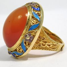 Gorgeous Large Carnelian Chinese Enamel Filigree Cloisonne Ring : The Jewel Collection | Ruby Lane Nail Guards, Jewelry Rings, Fine Jewelry, Victorian Jewelry, Ruby Lane, Carnelian, Filigree, Gemstone Rings, Jewelry Design