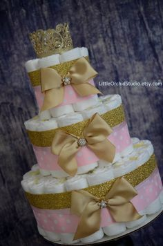 Pink and Gold baby shower/ Princess diaper Cake/ Pink Diaper Cake/ Gold Baby Shower/ Pink and Gold/ Crown/ Gifts for baby Girl/ Its a Girl/ Baby Girl/ Gifts/ Custom Cake by LittleOrchidStudio