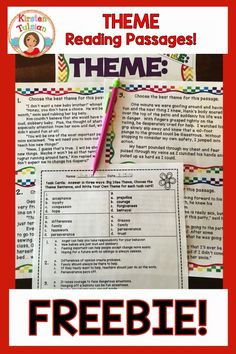 Reading themes - Theme Reading Passage and Task Cards FREE – Reading themes Reading Themes, Reading Resources, Reading Strategies, Reading Groups, Teacher Resources, 6th Grade Ela, Third Grade Reading, Fourth Grade, Reading Lessons