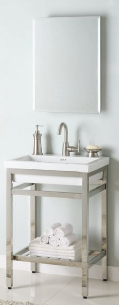 24 Inch Single Sink Console Bathroom Vanity with Choice of Metal Base Finish and White Ceramic Sink UVEISB24