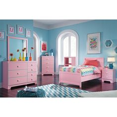 Signature Design by Ashley B044-52-B044-53-B044-82-B044-30-B044-91 Bronett Twin Panel Bed with Bookcase and Nightstand