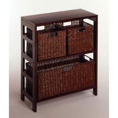 4 Piece Storage Shelf With Baskets Winsome Wood Storage Units Storage & Organization Home