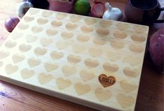 Custom Engraved Bamboo Chopping Block Hearts Pattern Personalized Cutting Board - 11 Main