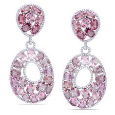 Miadora 14k White Gold Pink Tourmaline 1 1/2ct TDW Diamond Earrings (G-H, SI)