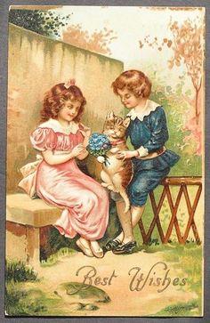 Beautiful Victorian Children on a Bench w/ Cat Kitten w/ Bouquet of Blue Flowers #BestWishes