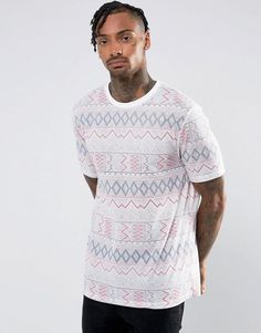 ASOS T-Shirt With All Over Geo-Tribal Print In Linen Mix - White